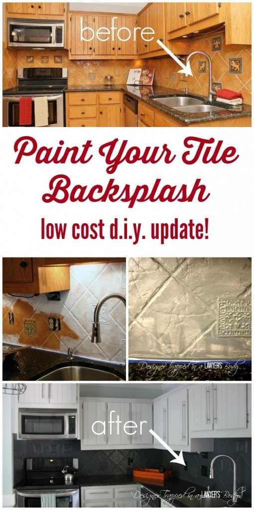 When the tile is too ugly to work with and you can't replace it.....PAINT IT!!!