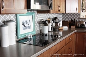 Oh Em Gee!! How Cute is this backsplash!! It is made of cut vinyl applied to a painted wall!  You can DIY or you can contact Landee on Etsy with your measurements for your kitchen! It is approximately $5.50 per square foot.