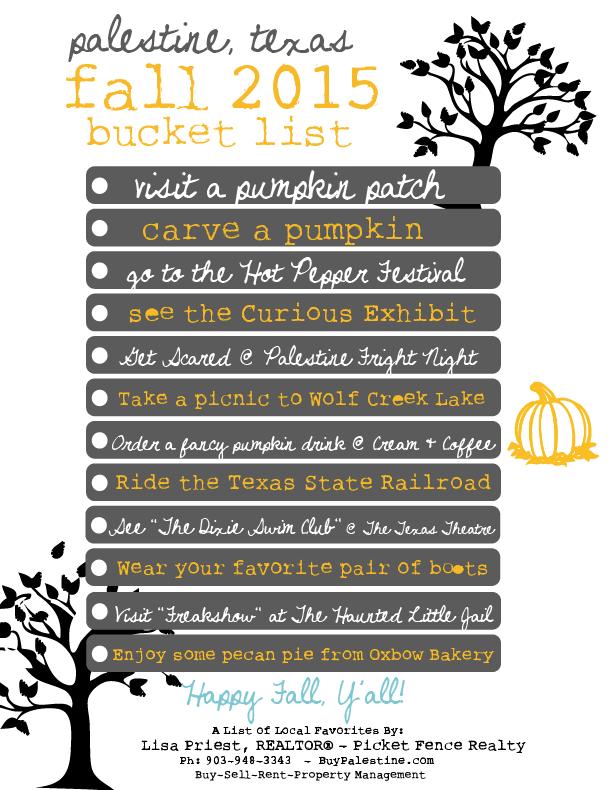 Palestine, TX Fall 2015 Bucket List {with Free printable!}