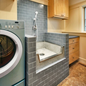 This is a fancy dog washing station, but how cool would this be?! Image via Houzz